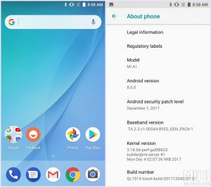mi a1 android oreo fast charging