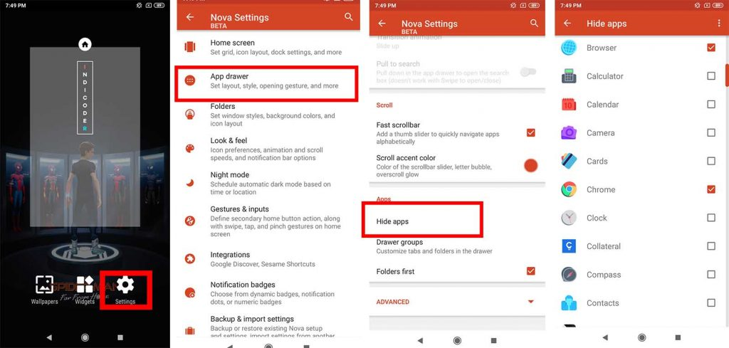 how to hide apps on android nova launcher